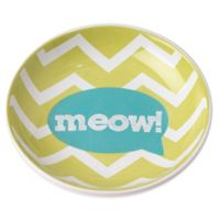"Petrageous® 2-1/2 oz. Zigazaga ""Meow"" Pet Bowl in Lime Green"