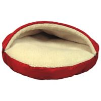Pet Parade Poly Sherpa 25-Inch Pet Cave Dog Bed in Red