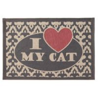 "Petrageous® Polycotton ""I Love My Cat"" Tapestry Placemat in Grey/Red"