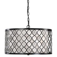 Uttermost Filigree 3-Light Drum Pendant Lamp in Black with Off-White Shade