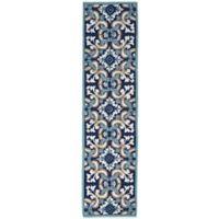 Trans-Ocean Ravella Floral Tile 2-Foot x 8-Foot Indoor/Outdoor Runner in Blue