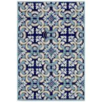 Trans-Ocean Ravella Floral Tile 2-Foot x 3-Foot Indoor/Outdoor Rug in Blue