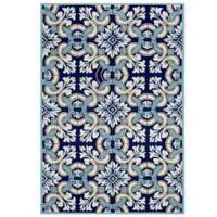 Trans-Ocean Ravella Floral Tile 8-Foot 3-Inch x 11-Foot 6-Inch Indoor/Outdoor Rug in Blue
