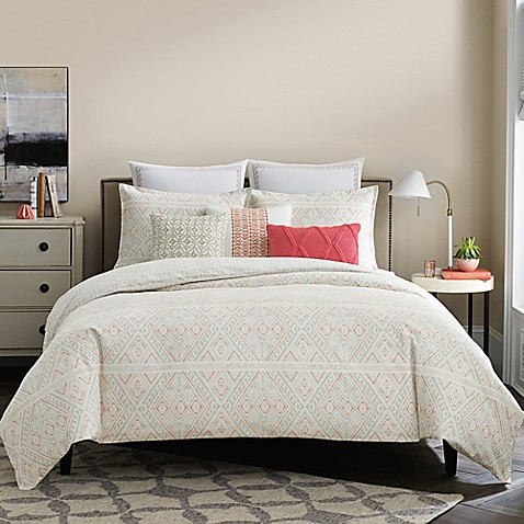 Real simple lucia reversible duvet cover in white coral for Bed decoration simple