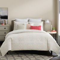 Real Simple® Lucia Reversible Twin Duvet Cover in White/Coral/Taupe