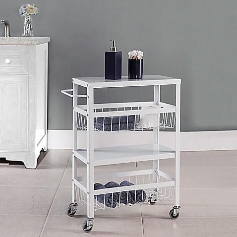 Flat Metal 4 Tier Rolling Storage Cart Bed Bath Beyond