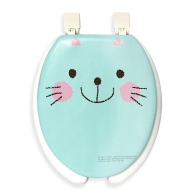 turquoise toilet seat cover. Happy Seat Cat Soft Padded Round Toilet in Blue White Buy Seats from Bed Bath  Beyond