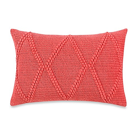 Coral Bed Throw Pillows : Real Simple Lucia Oblong Throw Pillow in Coral - Bed Bath & Beyond