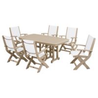 POLYWOOD® Coastal 7-Piece Outdoor Dining Set in Sand/White