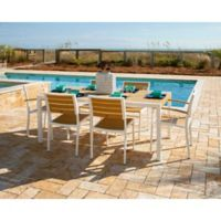 POLYWOOD® Euro Select 7-Piece Outdoor Dining Set in White/Teak