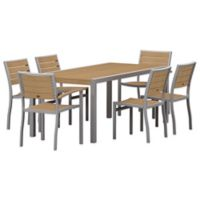 POLYWOOD® Euro Select 7-Piece Outdoor Dining Set in Silver/Teak