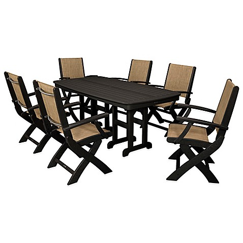 buy polywood coastal 7 piece outdoor dining set in black natural from bed bath beyond. Black Bedroom Furniture Sets. Home Design Ideas