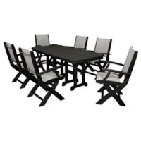 POLYWOOD® Coastal 7-Piece Outdoor Dining Set in Black/Silver