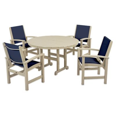 POLYWOOD® Coastal 5 Piece Outdoor Dining Set In Sand/Blue