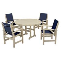 POLYWOOD® Coastal 5-Piece Outdoor Dining Set in Sand/Blue