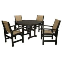 POLYWOOD® Coastal 5-Piece Outdoor Dining Set in Black/Natural