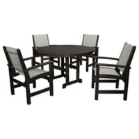 POLYWOOD® Coastal 5-Piece Outdoor Dining Set in Black/Silver