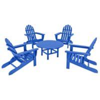 POLYWOOD® Classic Folding Adirondack 5-Piece Conversation Set in Pacific Blue