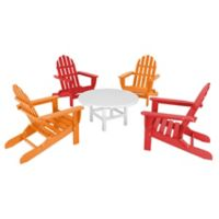 POLYWOOD® Classic Folding Adirondack 5-Piece Conversation Set in Red Tangerine