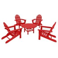 POLYWOOD® Classic Folding Adirondack 5-Piece Conversation Set in Sunset Red