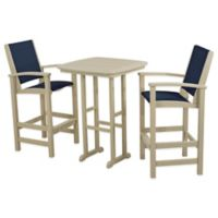 POLYWOOD® Coastal 3-Piece Outdoor Bar Set in Sand/Blue