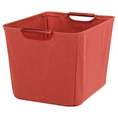 Household Essentials® Medium Open Tapered Storage Bin With Wood Handles In  Red
