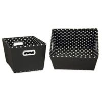 Household Essentials® Small Fabric 2-Toned Tapered Bins in Black (Set of 2)