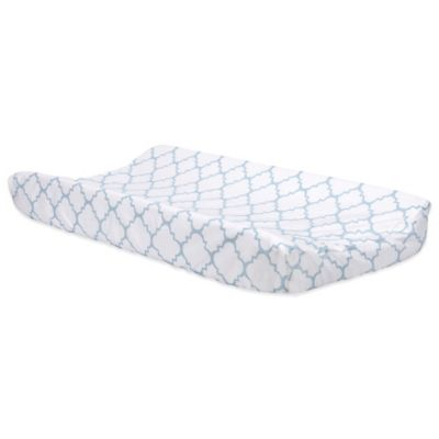 trend lab blue sky changing pad cover in quatrefoil