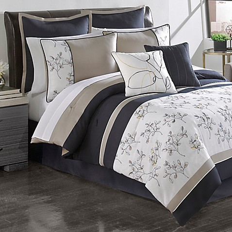 Sketch Pad Comforter Set In Navy Heather Grey Bed Bath