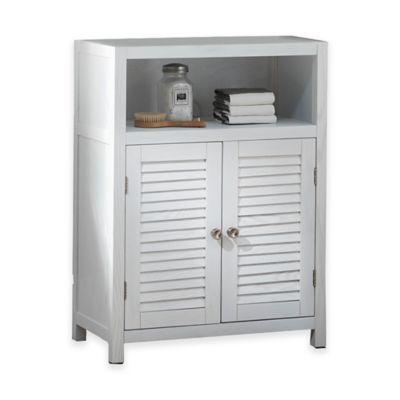Drift Single Shelf Wood Floor Cabinet In White