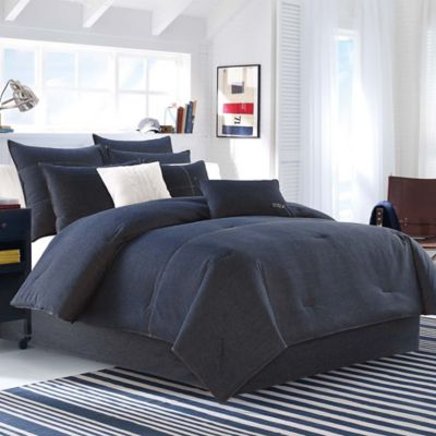 nautica seaward twin comforter set in denim blue