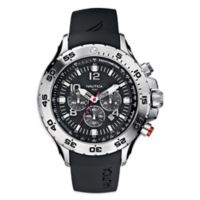 Nautica® 49mm Black Dial Yachting Chronograph Watch in Stainless Steel with Polyurethane Strap