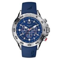 Nautica® 49mm Bue Dial Yachting Chronograph Watch in Stainless Steel with Polyurethane Strap