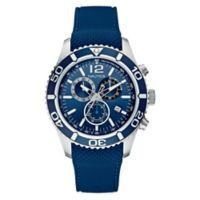 Nautica® Men's 43mm Navy Dial Chronograph Watch in Stainless Steel with Navy Silicone Strap
