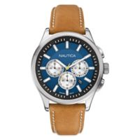 Nautica® Men's 44mm Blue Dial Chronograph Watch in Stainless Steel with Tan Leather Strap