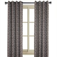 Simone 84-Inch Jacquard Leaf Room-Darkening Window Curtain Panel in Walnut