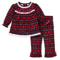 Little Me® 12M 2-Piece Christmas Plaid Ruffle Pajama Set in Red