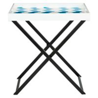 Safavieh Abba Tray Table in Blue/White