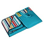 Picnic Time® Vista Blanket Tote in Aqua Blue with Fun Stripes