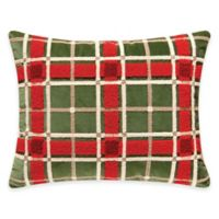Chickadee and Holly Pines Holiday Berry Wreath Tufted Plaid Pillow