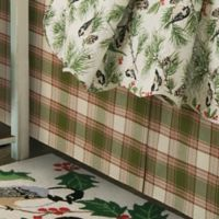 Chickadee and Holly Pines Holiday Twin Bed Skirt