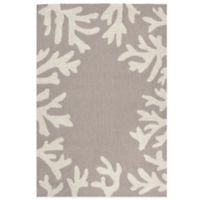 Trans-Ocean Capri Coral Border 2-Foot x 3-Foot Indoor/Outdoor Rug in Grey