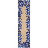 Trans-Ocean Spello Coral Border 2-Foot x 8-Foot Indoor/Outdoor Runner in Blue