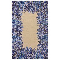 Trans-Ocean Spello Coral Border 3-Foot 6-Inch x 5-Foot 6-Inch Indoor/Outdoor Area Rug in Blue