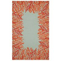 Trans-Ocean Spello Coral Border 3-Foot 6-Inch x 5-Foot 6-Inch Indoor/Outdoor Area Rug in Orange