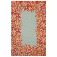 Trans-Ocean Spello Coral Border 7-Foot 6-Inch x 9-Foot 6-Inch Indoor/Outdoor Area Rug in Orange