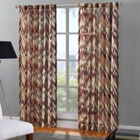 Flamestitch Rod Pocket/Back Tab 95-Inch Window Curtain Panel in Berry