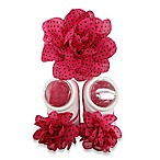 So'Dorable Flower Headwrap and Bootie Set in Fuschia