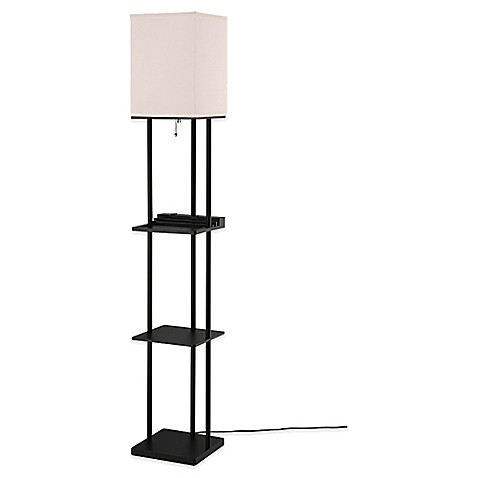 image of Equip Your Space Étagère Floor Lamp with Charging Station and CFL Bulb