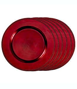 Platos base decorativos en rojo, Set de 6